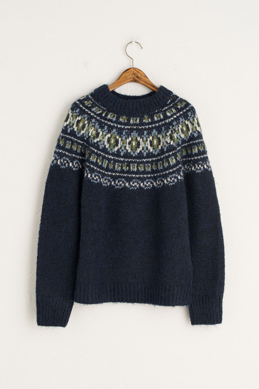 Fara Crew Neck Jumper, Navy