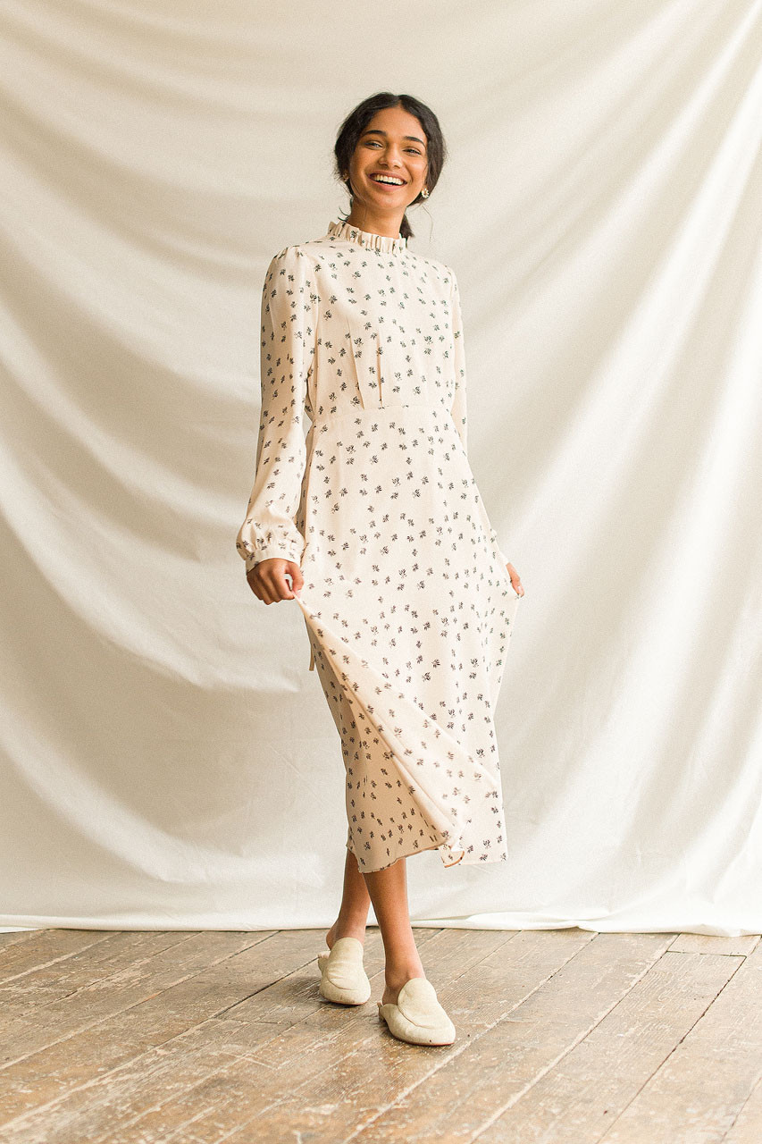 Frill Neck Long Dress, Beige