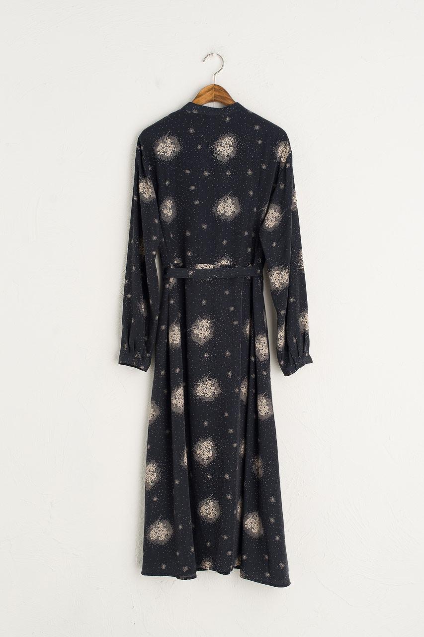 Bella Mandarin Collar Dress, Navy
