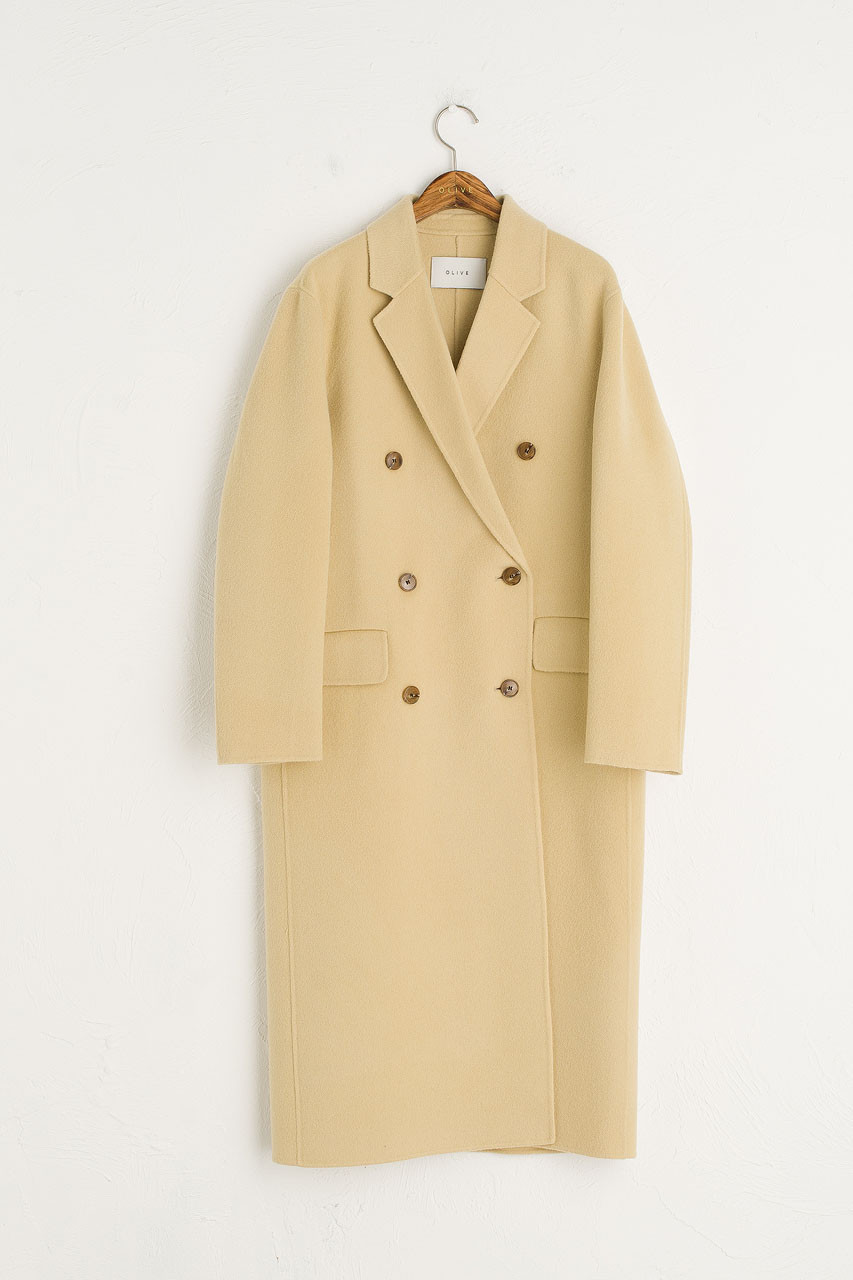 Be Seamless Double Button Long Coat, Butter