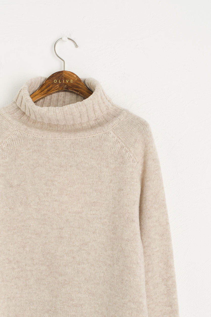 Simple Roll Neck Jumper, Oatmeal