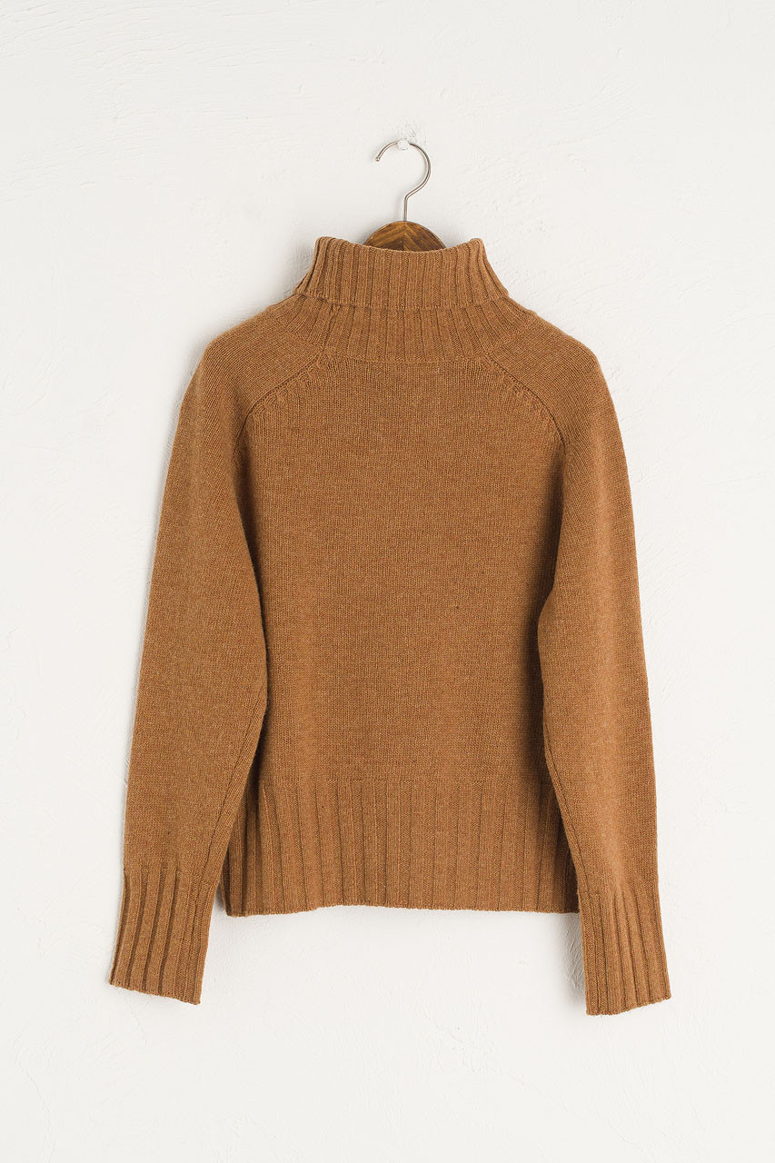 Simple Roll Neck Jumper, Camel