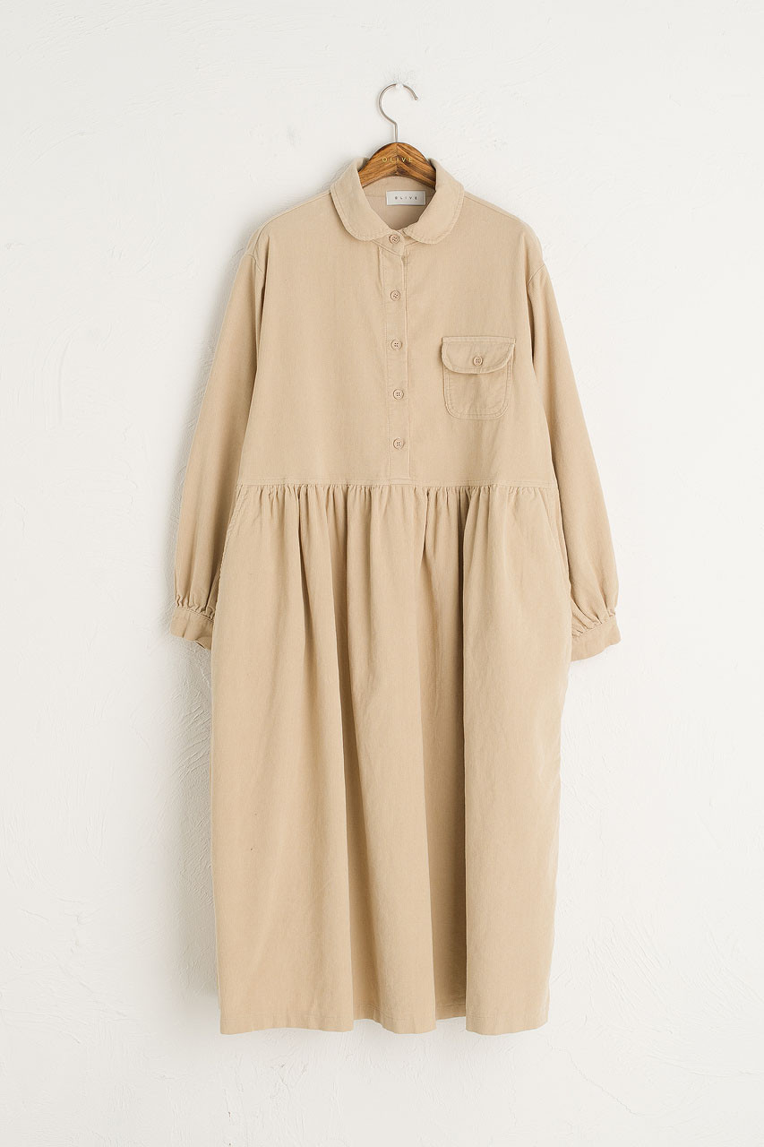 Peter Pan Collar Long Cord Dress, Beige