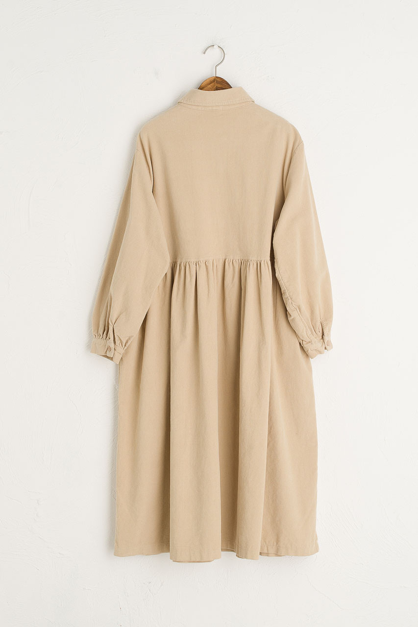 Peter Pan Collar Long Cord Dress, Beige
