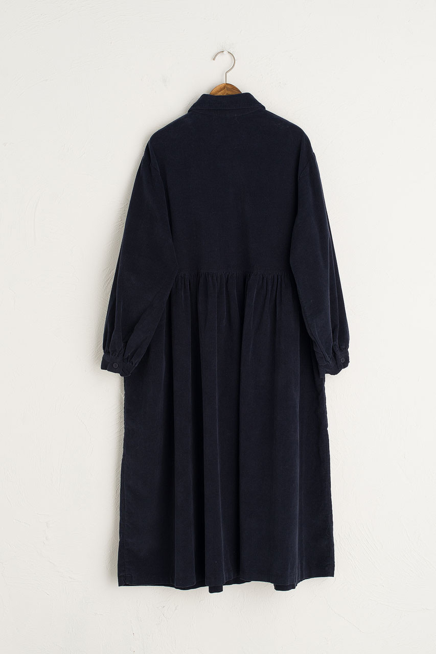 Peter Pan Collar Long Cord Dress, Navy