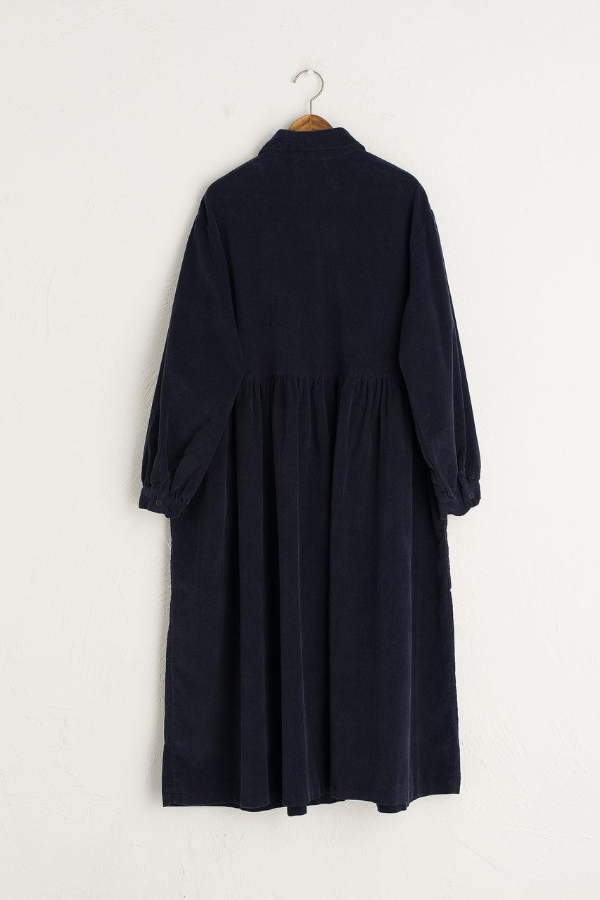 Peter Pan Collar Long Cord Dress, Navy