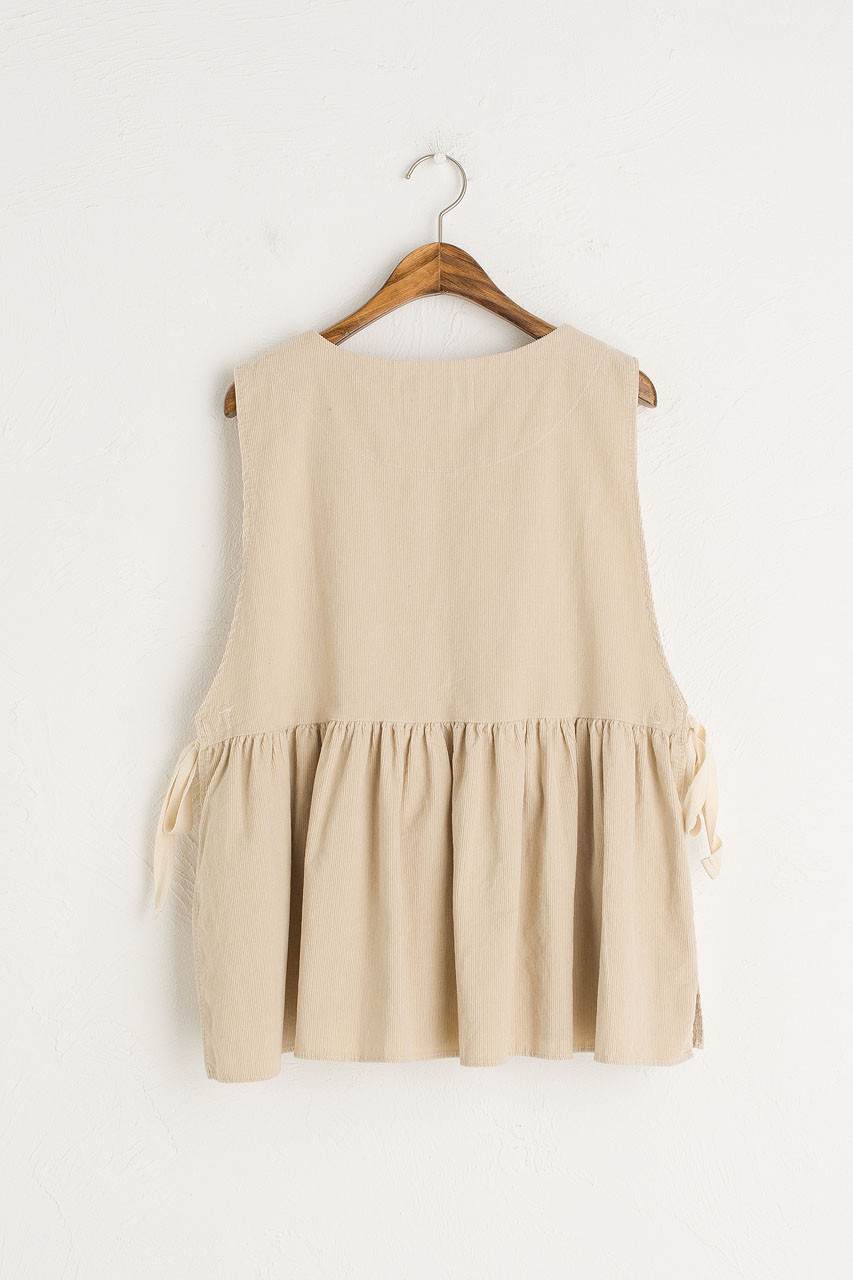 Cord Frill Bottom Vest, Ivory