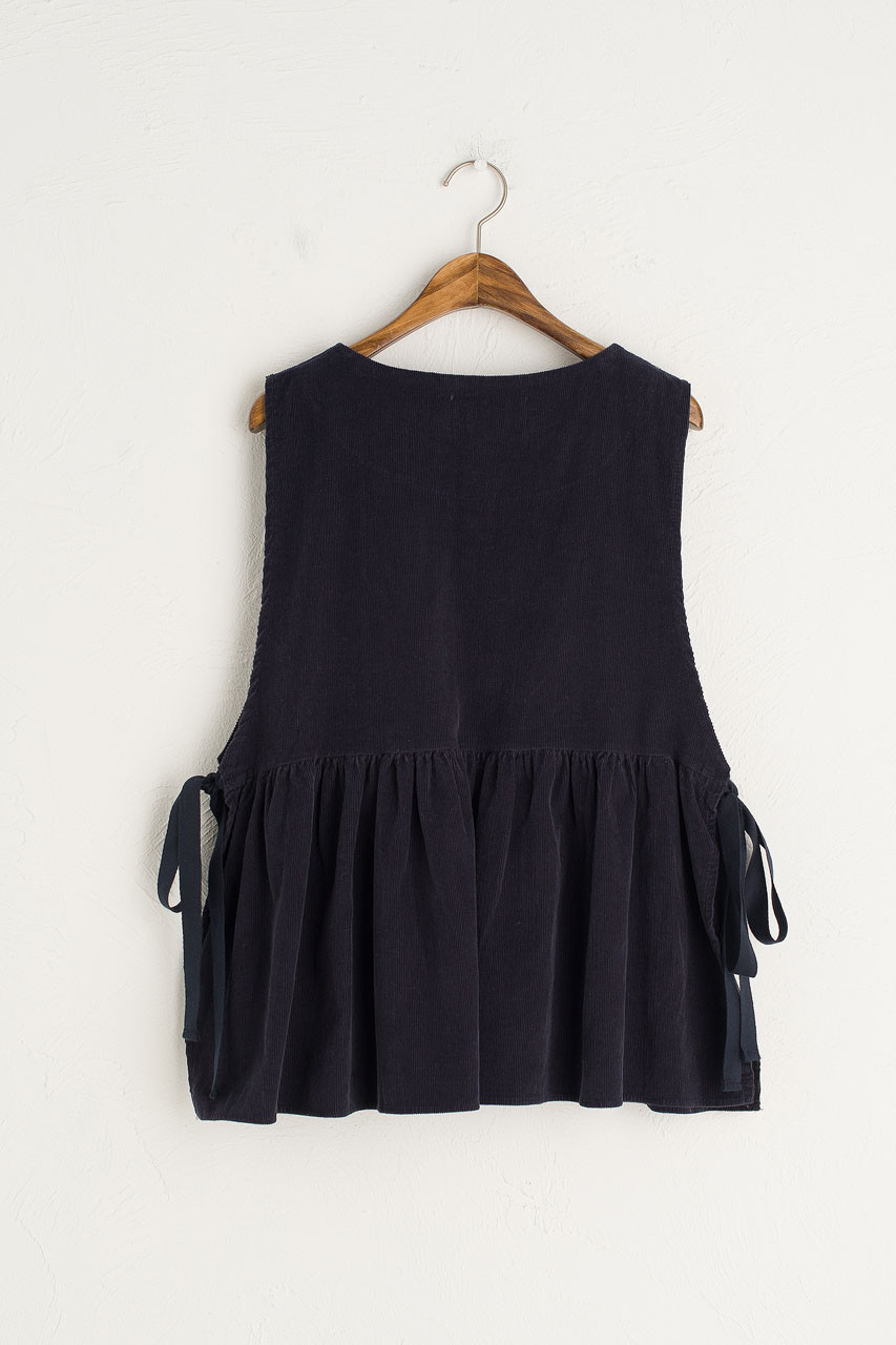 Cord Frill Bottom Vest, Navy
