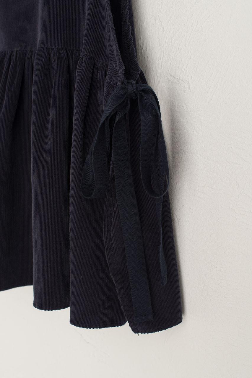 Cord Frill Bottom Vest, Navy
