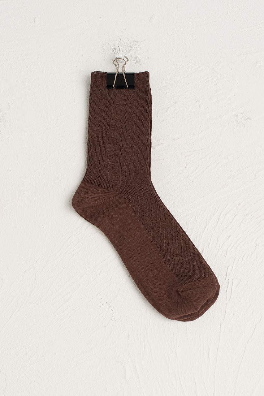 Ribbed Simple Socks, Brown