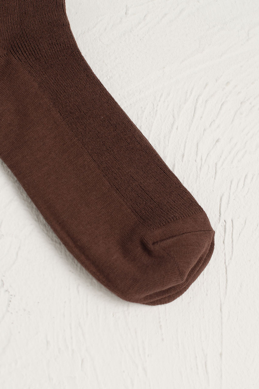 Ribbed Simple Socks, Brown