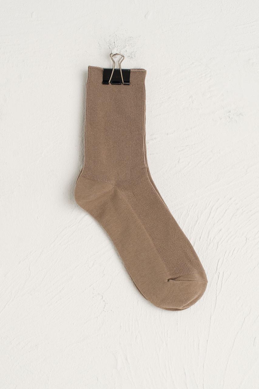 Ribbed Simple Socks, Beige