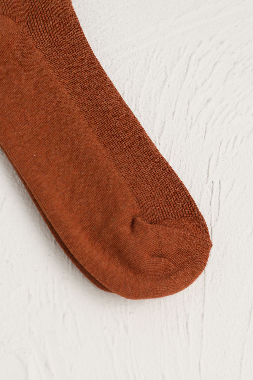 Ribbed Simple Socks, Pumpkin
