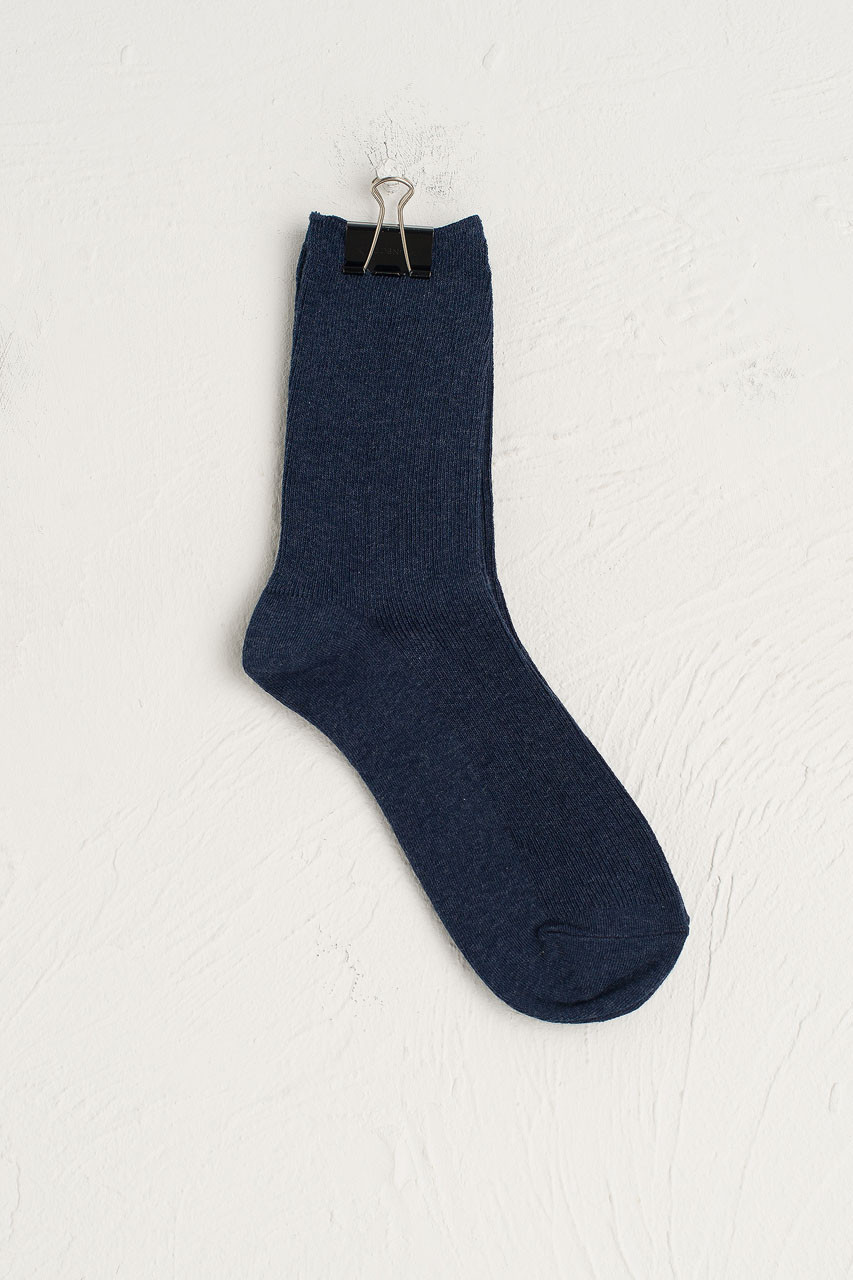 Ribbed Simple Socks, Navy