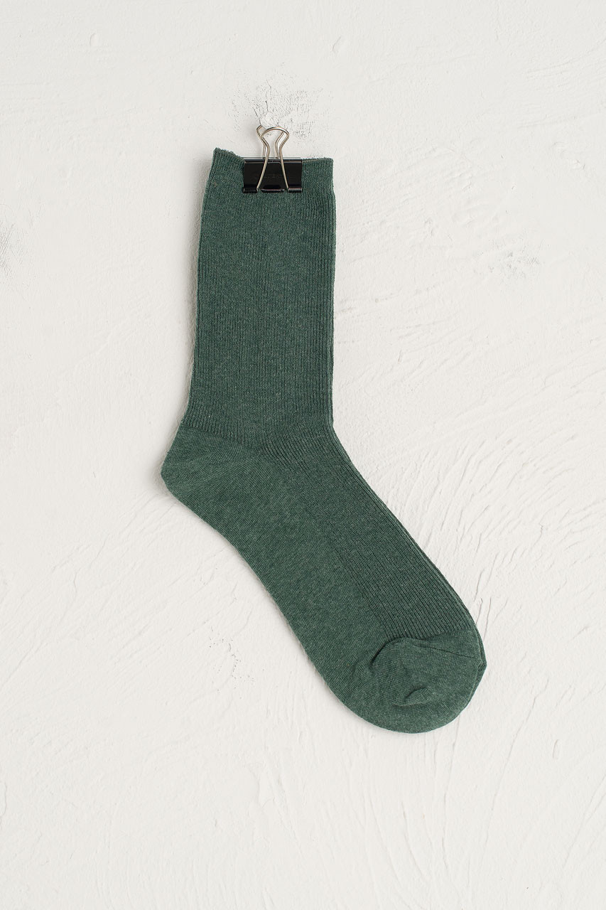 Ribbed Simple Socks, Teal