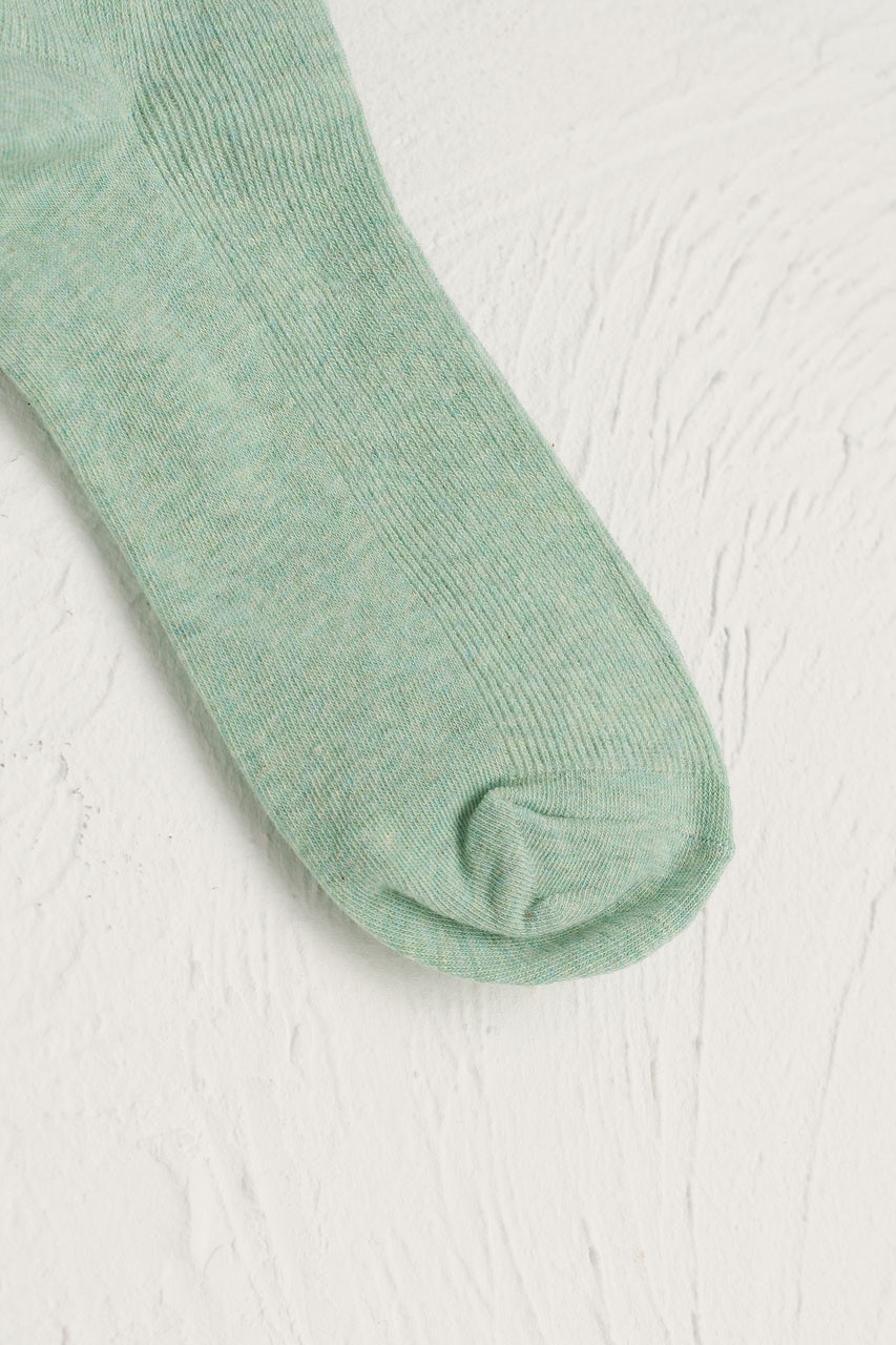 Ribbed Simple Socks, Light Green