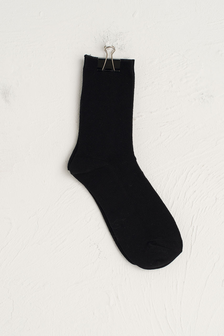 Ribbed Simple Socks, Black
