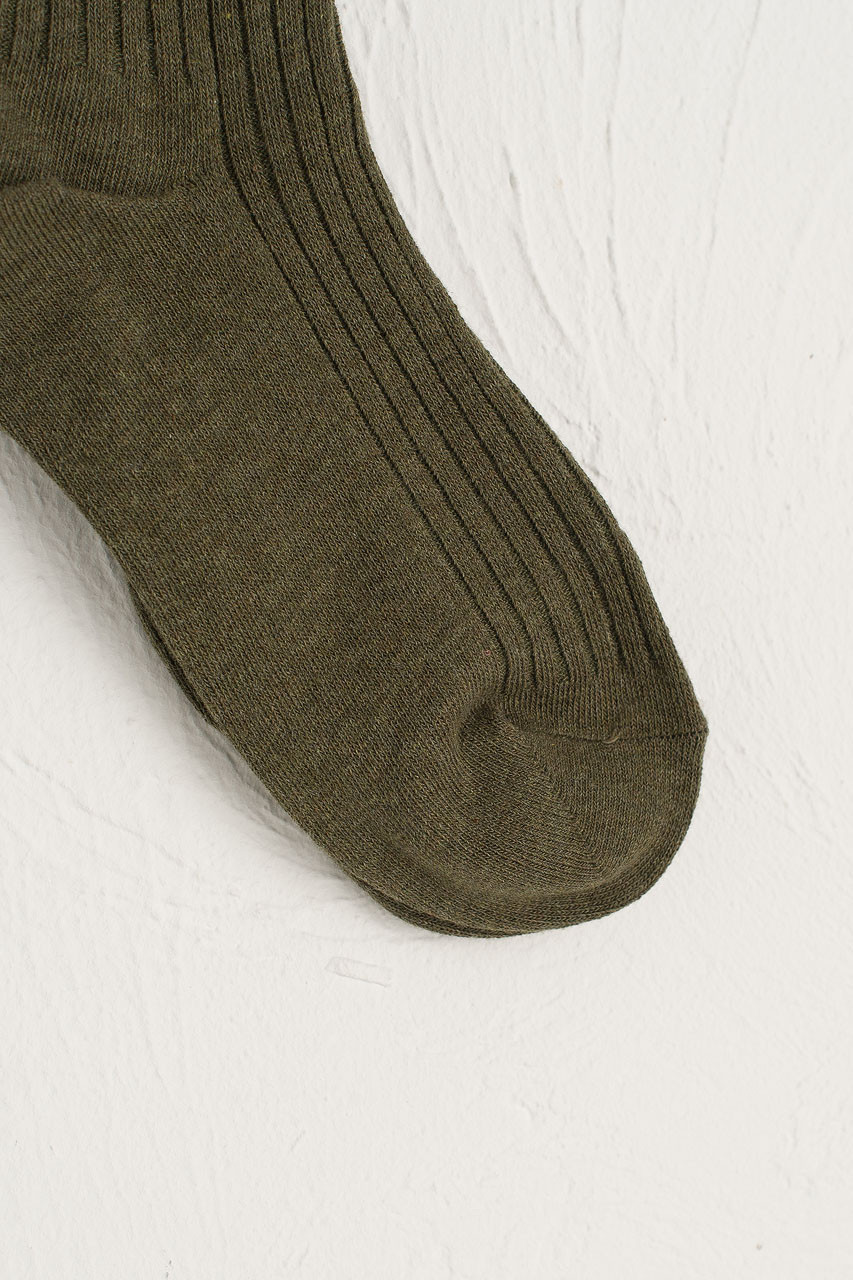 Ribbed Knee Socks, Khaki