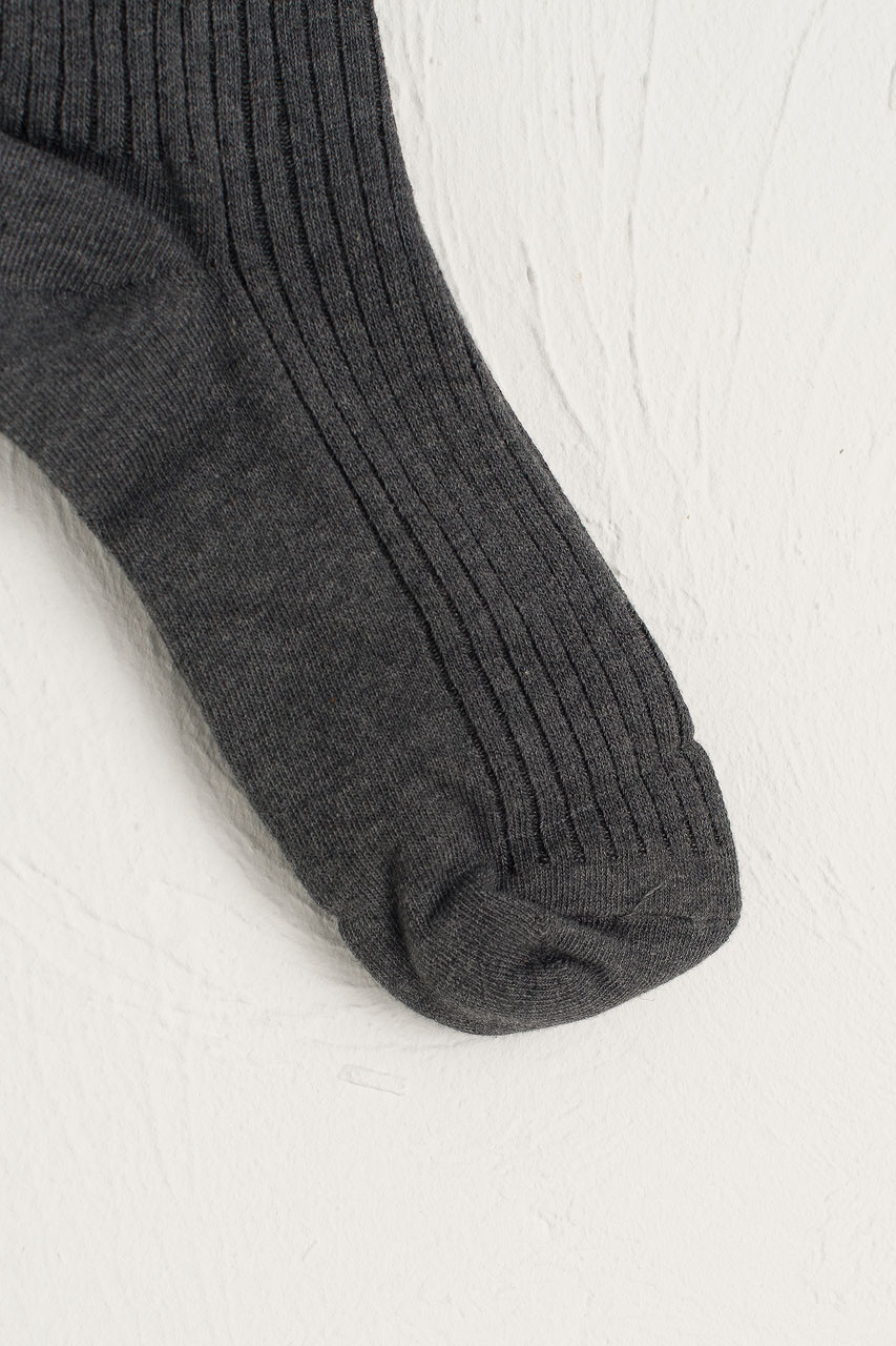 Ribbed Knee Socks, Charcoal