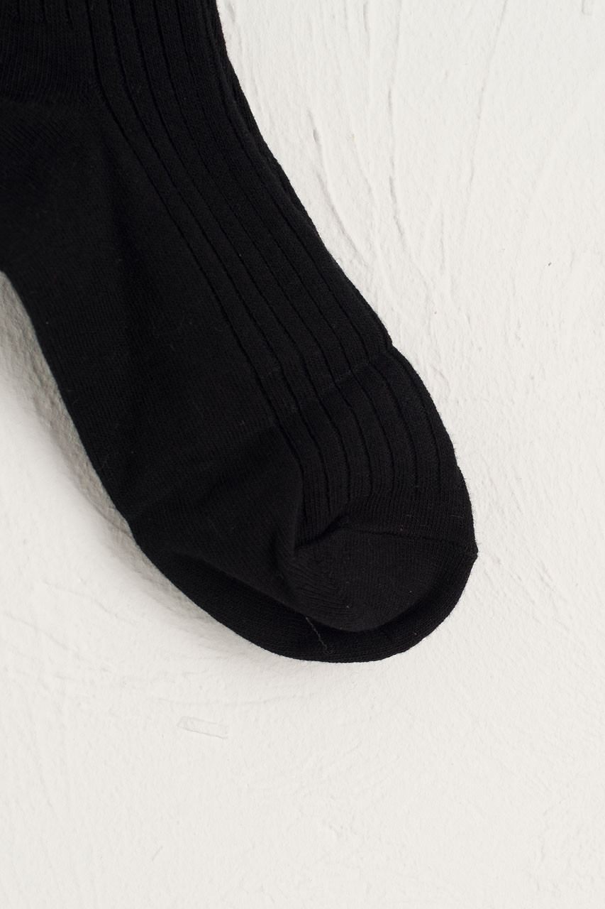 Ribbed Knee Socks, Black