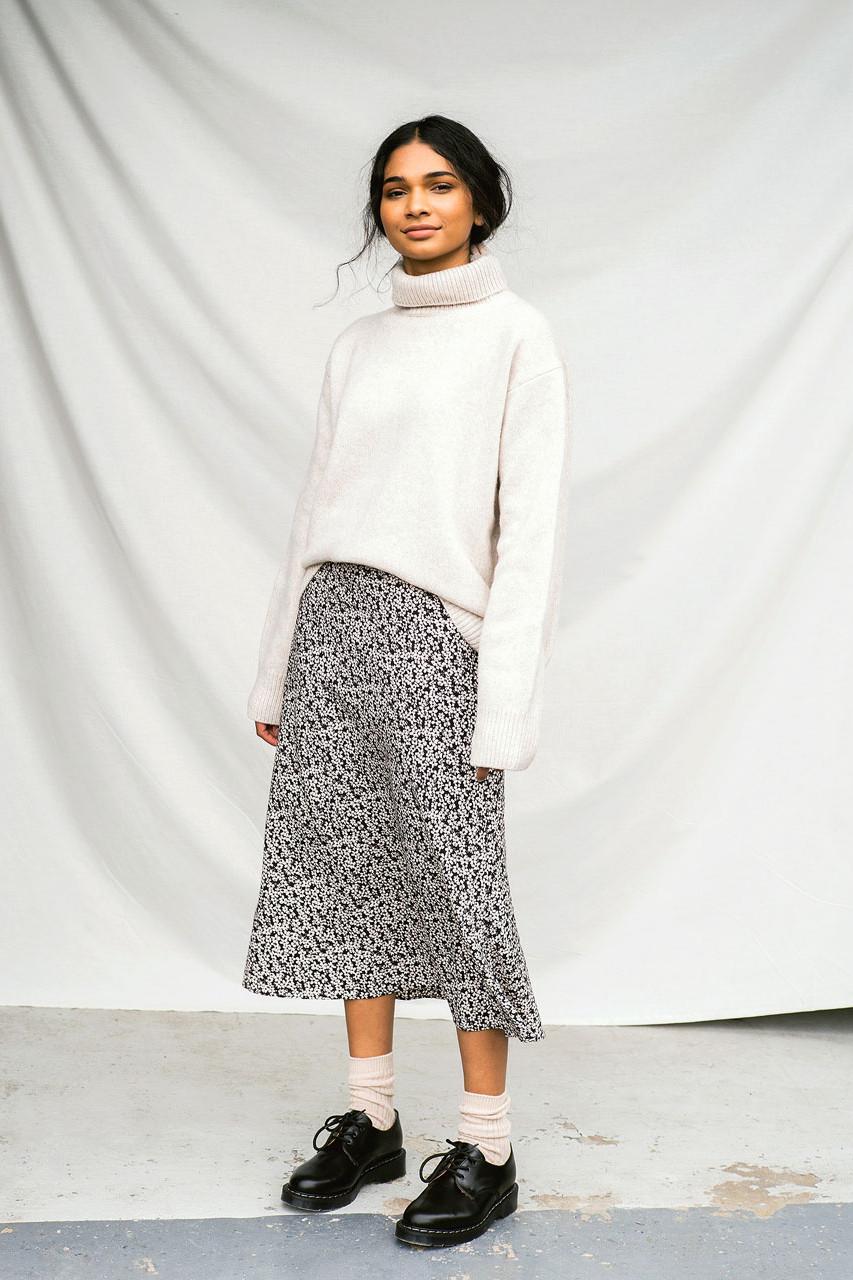 Eunha Flower Skirt, Black