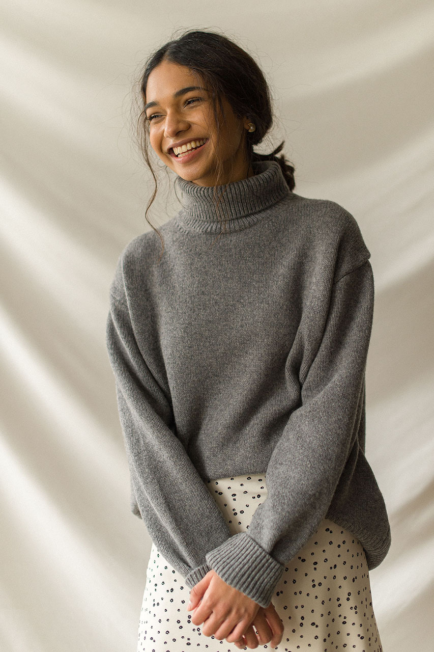 Jane Turtleneck Jumper, Grey