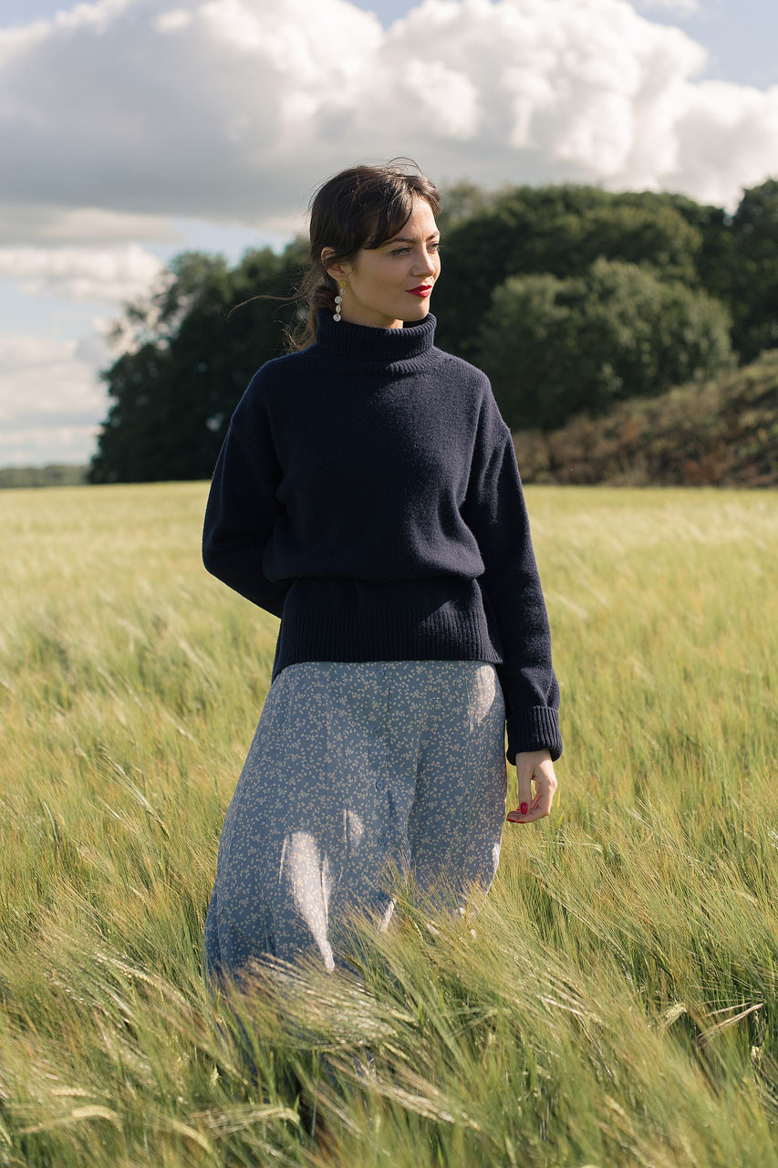 Jane Turtleneck Jumper, Navy