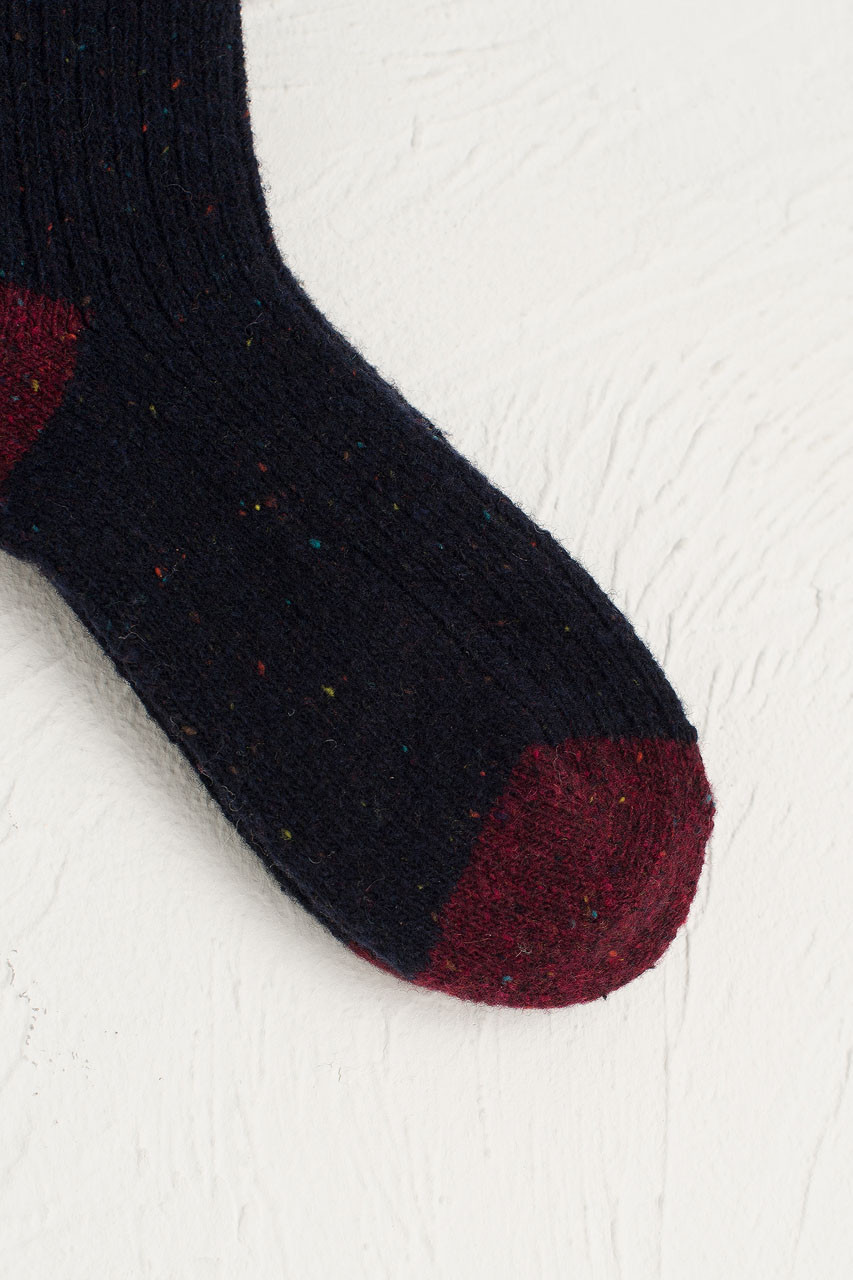 Boucle Combi Colour Socks, Navy