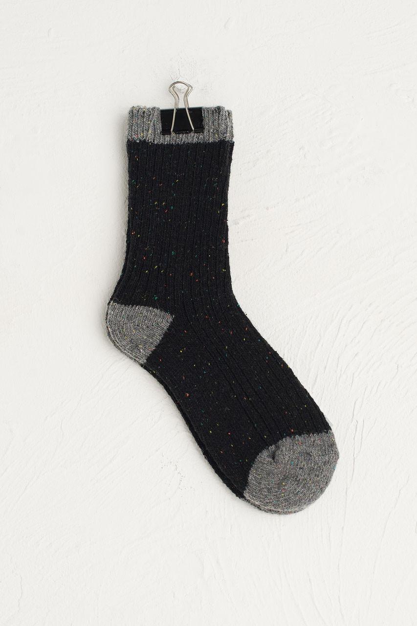 Boucle Combi Colour Socks, Black