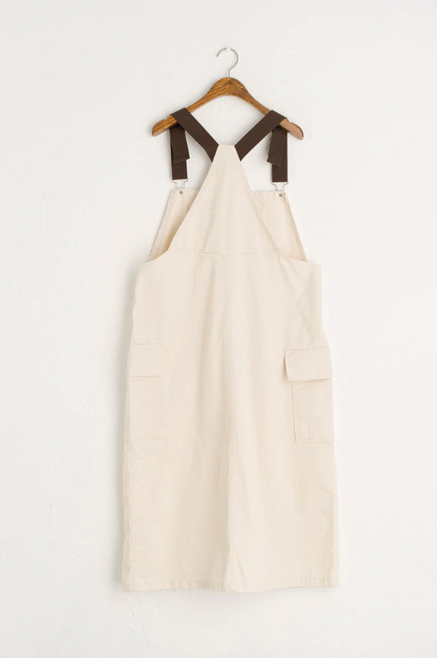 Co Brown Point Dungaree Dress, Ivory
