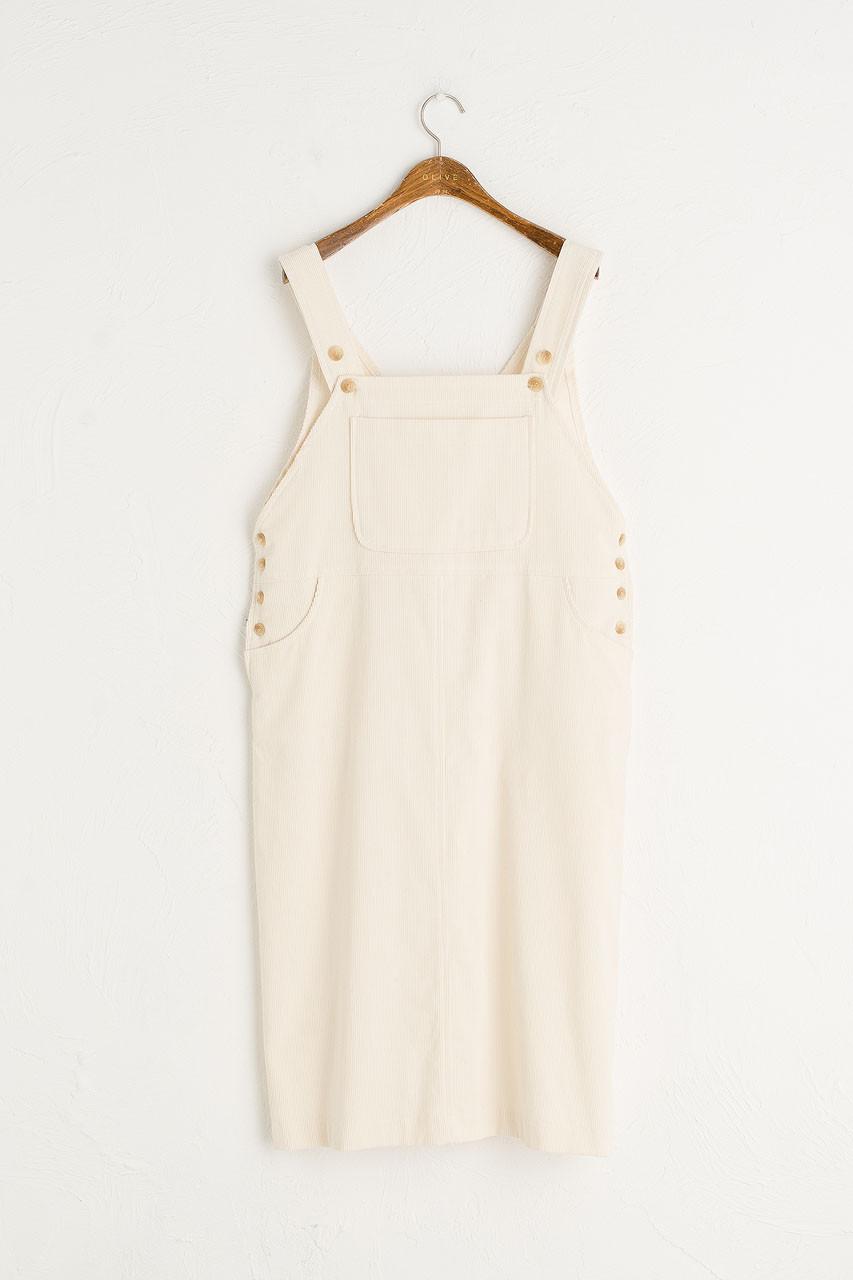 Jane Cord Dungaree Dress, Ivory