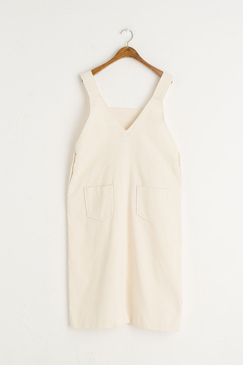 Jane Cord Dungaree Dress, Ivory