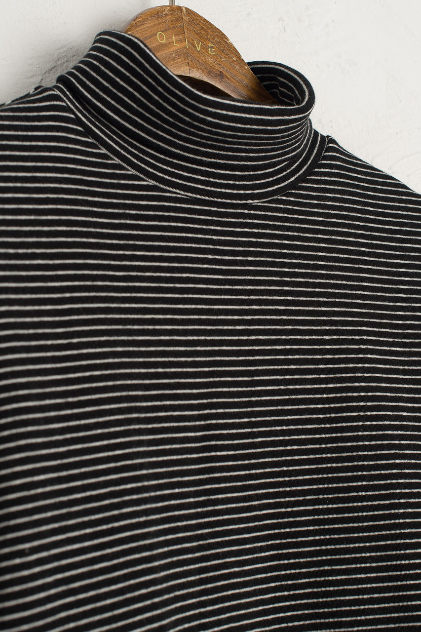 Thin Stripe Roll Neck Tee, Black/White