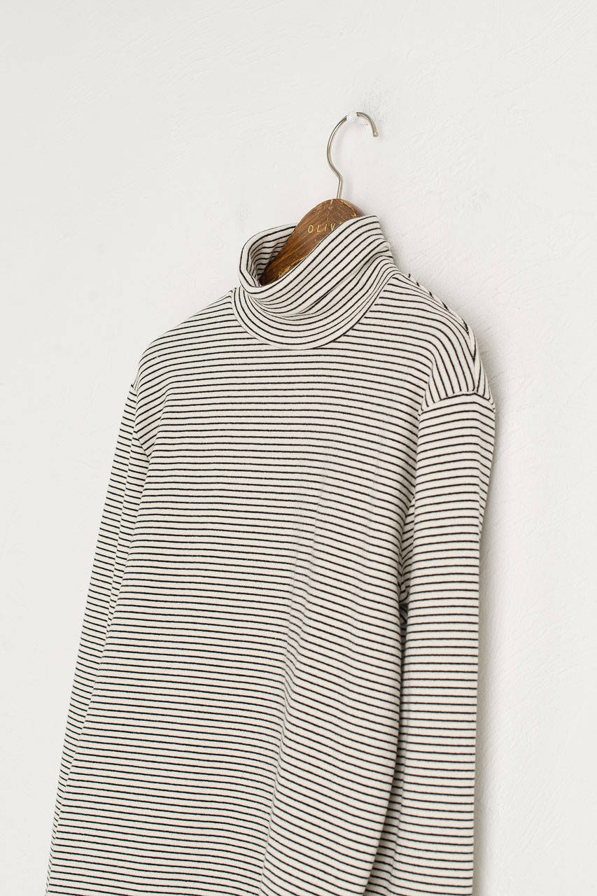 Thin Stripe Roll Neck Tee, White/Black