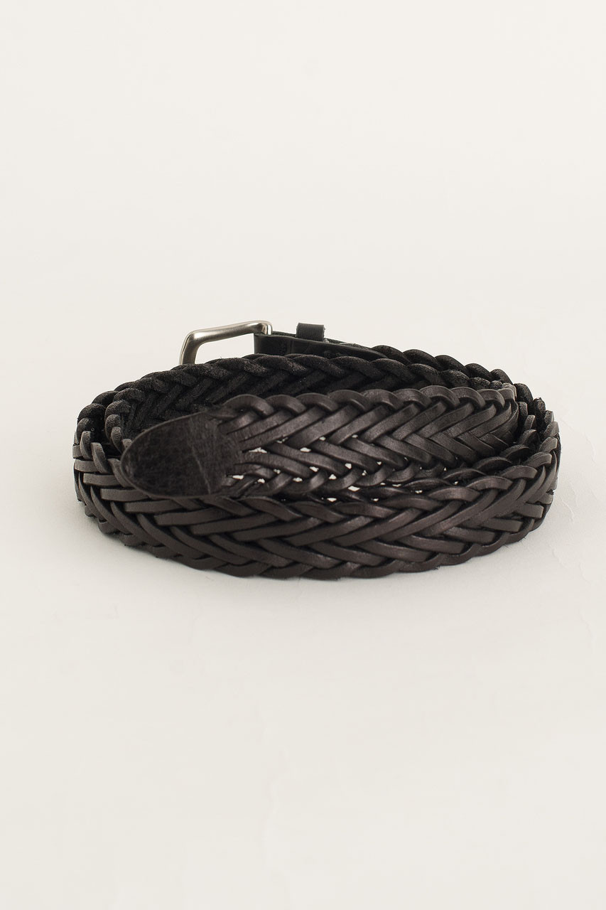 Menswear | Web Leather Belt, Black