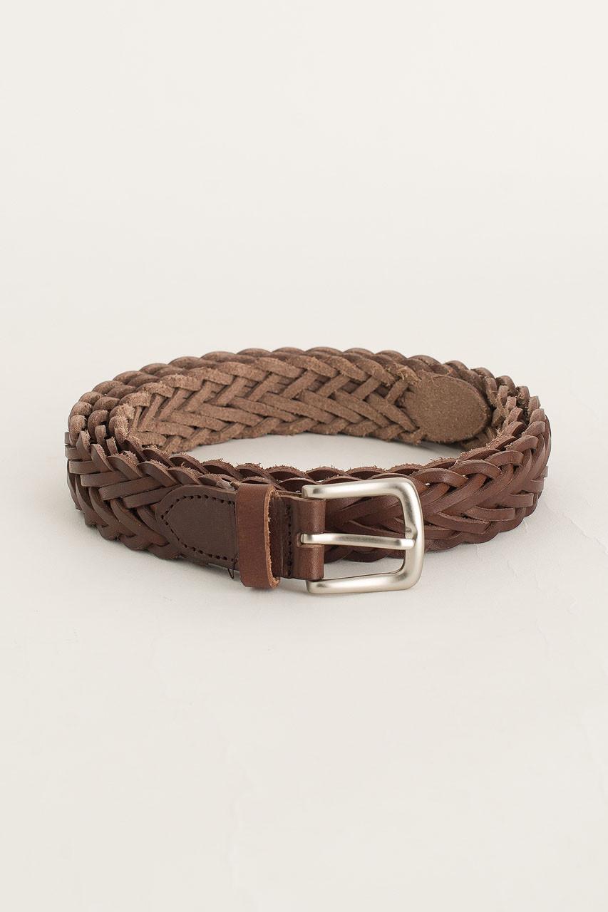 Menswear | Web Leather Belt, Brown
