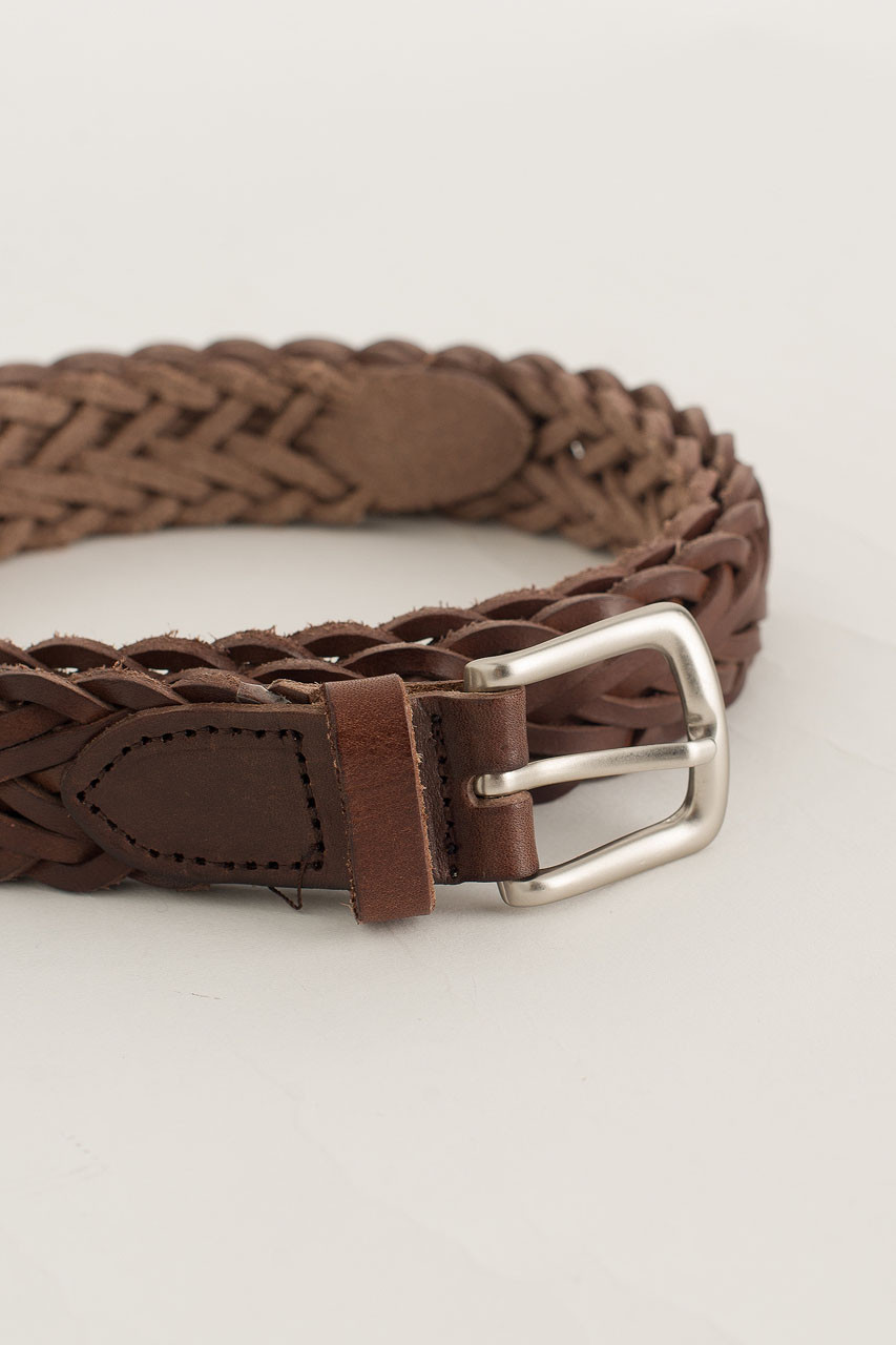 Menswear | Web Leather Belt, Brown
