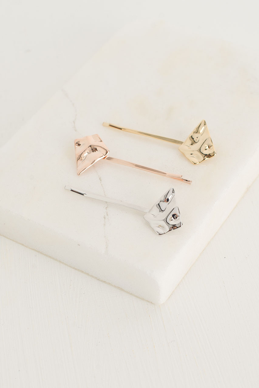 Crushed Metal Triple Slide, Gold/Silver/Rose Gold