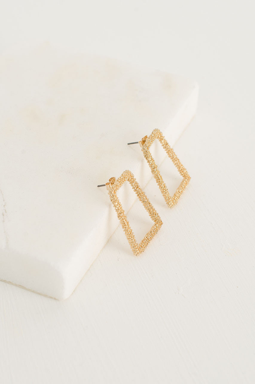 Crushed Gold Temple Earrings, Gold