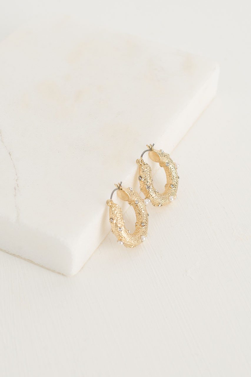Crushed Gold Pearl Circle Earrings, Gold