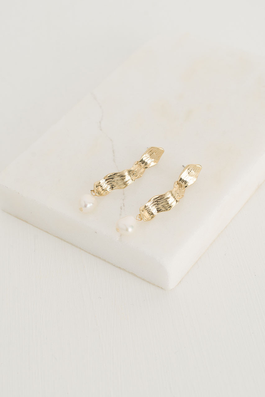 AdŽle Pearl Earrings, Gold