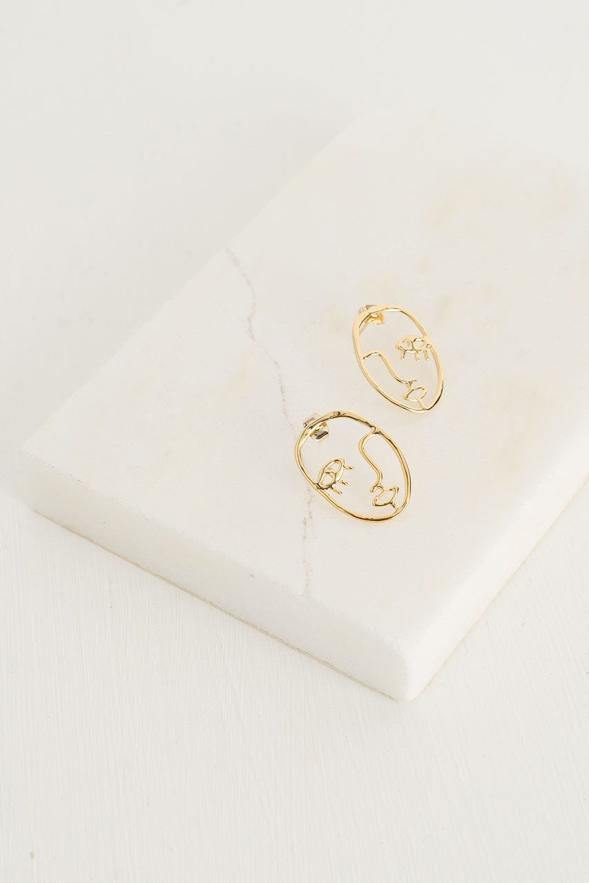 Emile Earrings, Gold