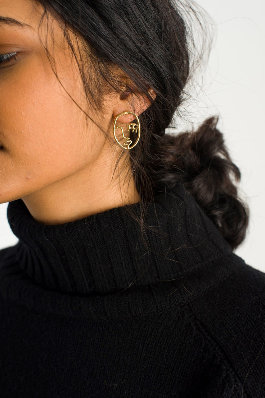 Emile Earrings, Gold