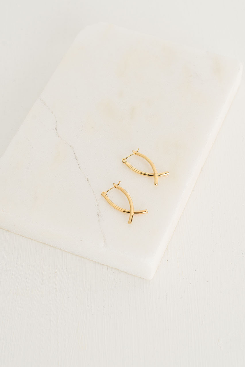 Miou Earrings, Gold