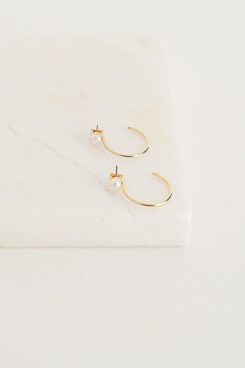 Bardot Pearl Circle Earrings, Gold