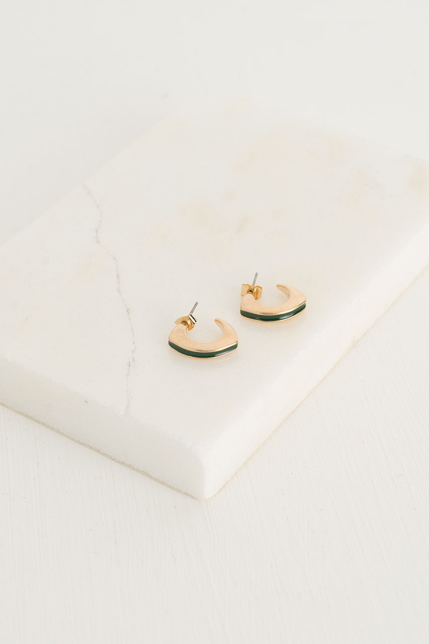 Half Hoop Colour Earrings, Green