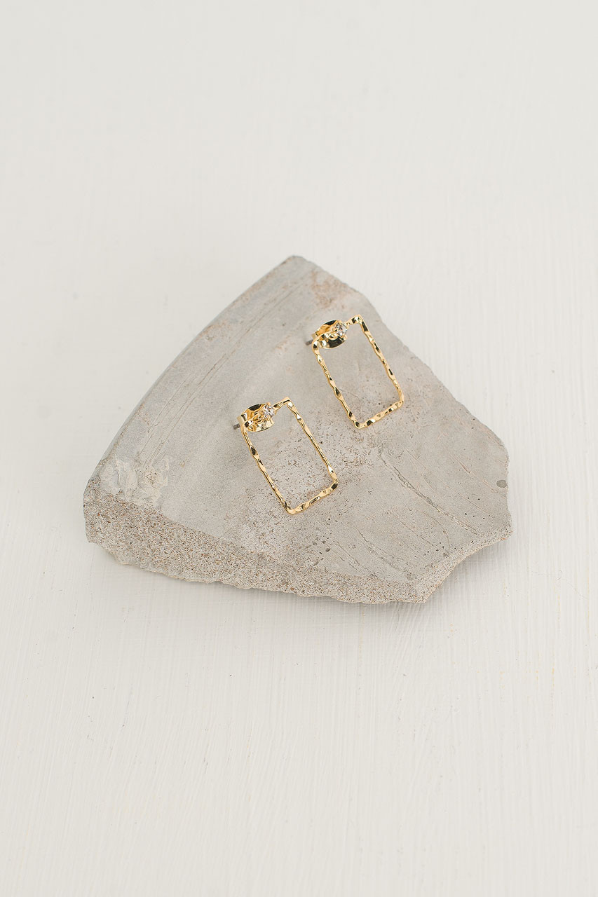 Mary Square Earrings, Gold