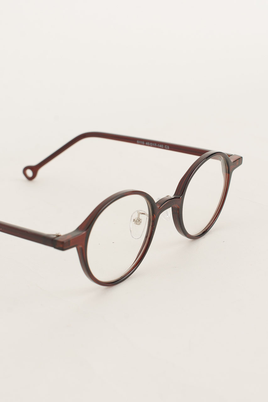Circle Plastic Body Glasses, Brown