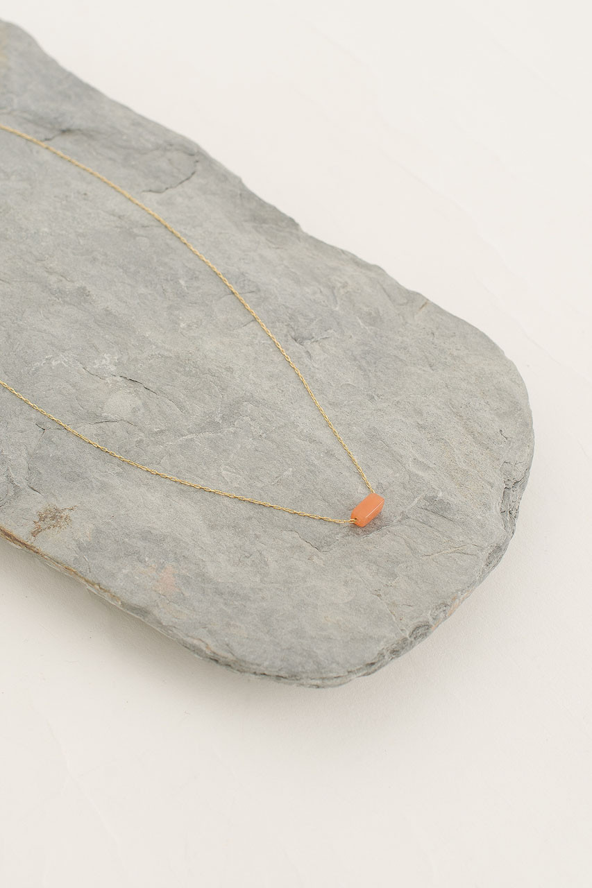 Moon Stone Necklace, 18K Gold Plated/Pink