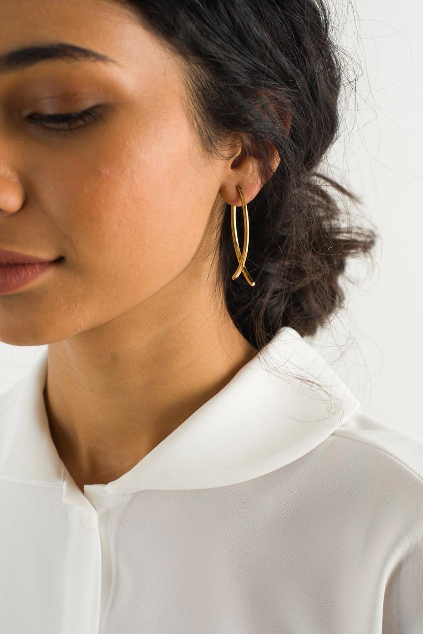 Bea Cross Earrings, Gold